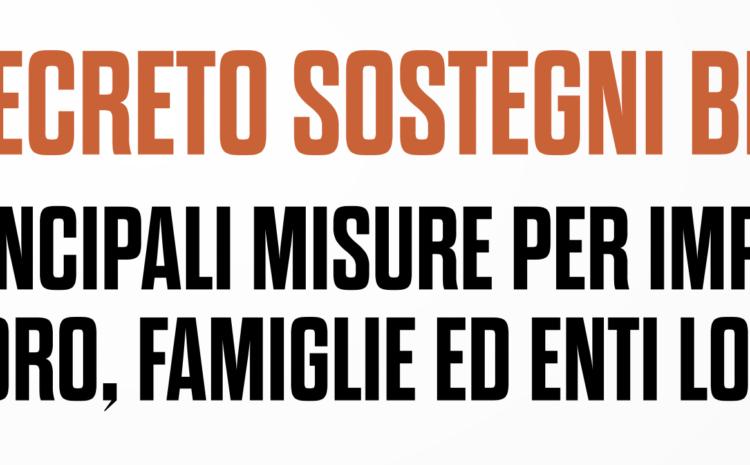 """Il DECRETO """"SOSTEGNI BIS"""""""